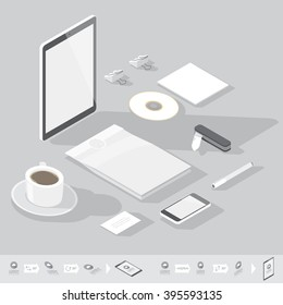 Corporate identity mock-up template. Flat isometric design. Vector illustration.