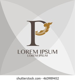 Corporate Identity P Branding  Thai art style vector logo design template