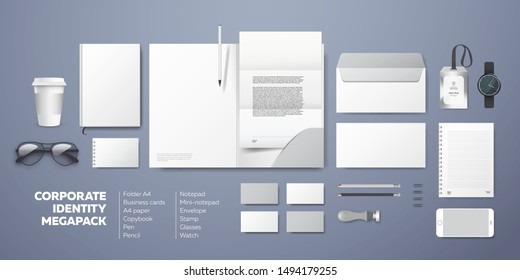 Corporate identity premium branding design. Stationery mockup vector megapack set. Template folder and A4 letter, visiting card and envelope. Empty objects for presentation company style.