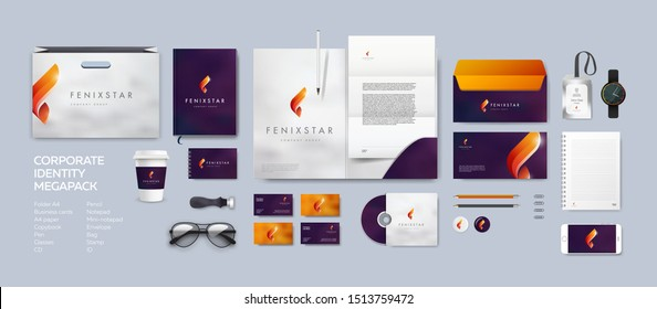 Corporate identity premium branding design. Stationery mockup vector megapack set. Template for business or finance company. Folder and A4 letter, visiting card and envelope based on fire fenix logo.
