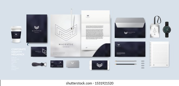 Corporate identity premium branding design. Stationery mockup vector megapack set. Template for business or finance company. Folder and A4 letter, visiting card and envelope based on modern lux logo.