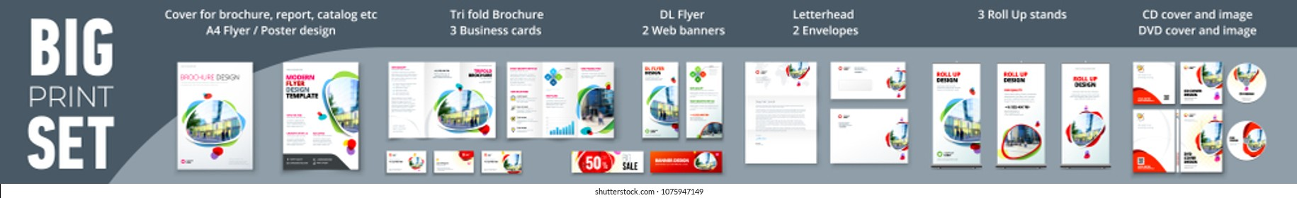 Corporate identity print template set: brochure, flyer, tri fold, business card, banner, roll up, letterhead, envelope, CD/DVD cover. Branding design. Business stationery mock-up collection.