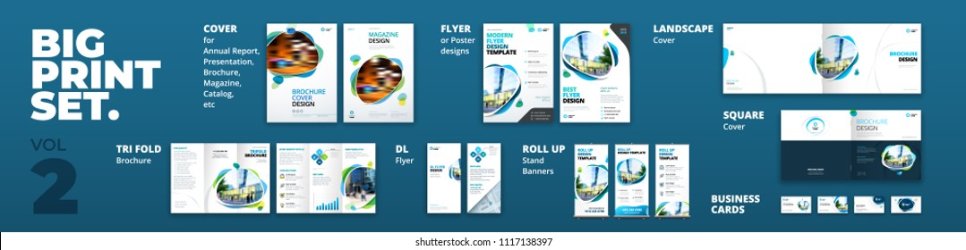 Corporate identity print template set: brochure cover, flyer, tri fold, business card, roll up. Branding design. Business stationery mock-up collection.