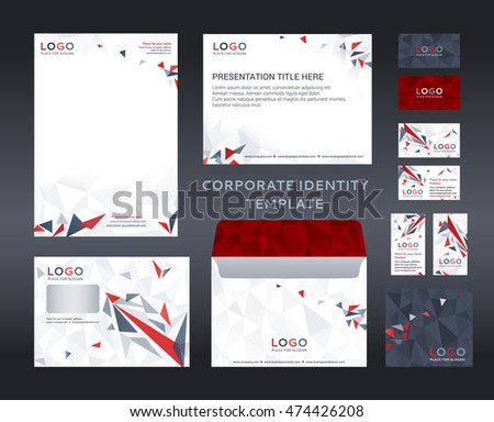 corporate identity set lowpoly style letter stock vector (royalty, Low Poly Business Presentation Template, Presentation templates