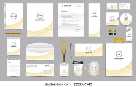 Corporate Identity Set. Stationery Blank Template Design Kit. Branding Template Editable with abstract lines background orange color for Business Company finance vector