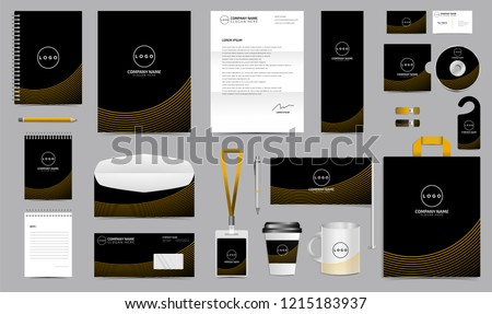 corporate identity set stationery blank template stock vector