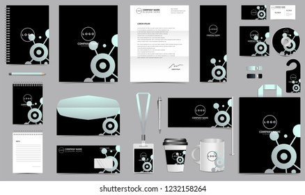 Corporate Identity Set. Stationery Template Design Kit. Branding Template Editable Brand Identity pack with abstract black background color for Business Company and Finance Vector eps 10