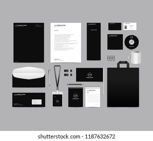 Corporate identity set template design. blank template editable with logo abstract texture with black color background. vector company Business Stationery branding mockup eps 10