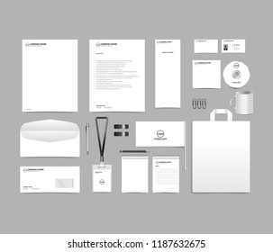 Corporate identity set template design. blank template editable with logo abstract texture with white color background. vector company Business Stationery branding mockup eps 10