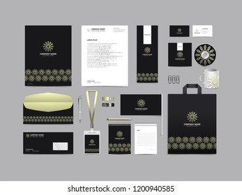 Corporate identity set template design. Stationery Kit Branding template editable with abstract luxury flower tulip logo object with white color. company Business finance vector mockup eps 10