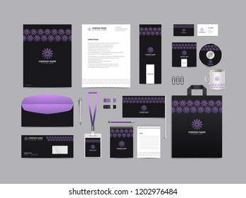 Corporate identity set template design. Stationery Kit Branding template editable with abstract logo flower tulip with green color. company Business finance vector