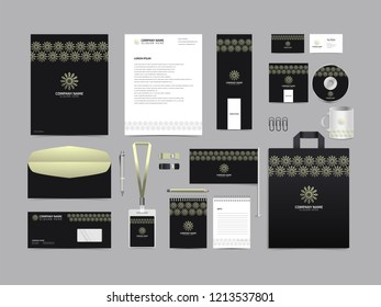 Corporate identity set template design. Stationery Kit Branding template editable with abstract luxury flower tulip logo with white color. company Business finance vector eps 10