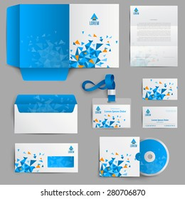 Corporate identity stationery in blue abstract design set isolated vector illustration