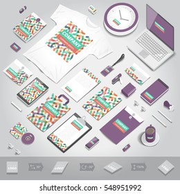 Corporate identity stationery objects print template. Isometric style. Vector illustration.