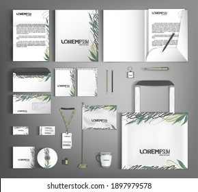 Corporate identity template with abstract and floral decor elements. Fashionable textures and strokes. Vector illustration