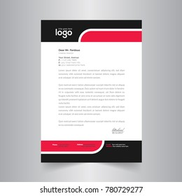 corporate identity template with black & red color letter head template
