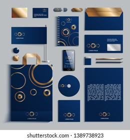 Corporate identity template in blue and gold colors with pattern of circles. Vector company style for brandbook and guideline. EPS 10