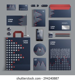 Corporate identity template in blue and grey colors with pattern of circles. Vector company style for brandbook and guideline. EPS 10