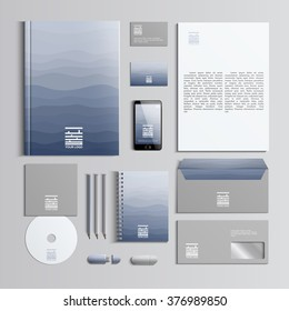 Corporate identity template in blue and grey colors with pattern of waves. Vector company style for brandbook and guideline. Stylish and clear branding. EPS 10