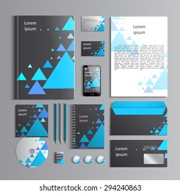 Corporate identity template with blue triangles on grey background. Vector company style for brandbook and guideline. EPS 10