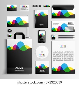 Corporate identity template in CMYK colors with pattern of the waves. Vector company style for brandbook and guideline. EPS 10