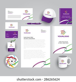 Corporate identity template with colorful abstract logo. Vector company style for brandbook and guideline. Documentation for business - art, design, creative, agency, stuff, consulting, conference.