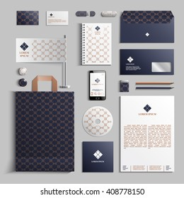 Corporate identity template in dark blue and beige colors with geometric pattern. Vector company style for brand book and guideline. EPS 10