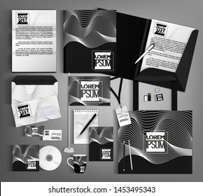 Corporate identity template design with a black and white wave. Business set stationery.