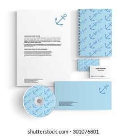 corporate identity template design with blue anchors