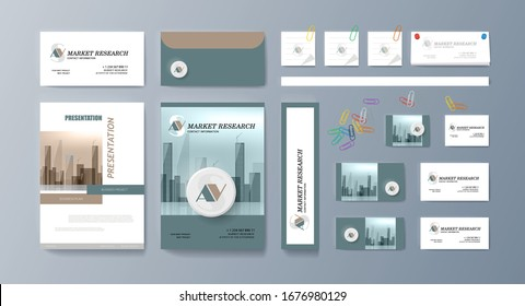 Corporate identity template design with central geometric element. Vector company style for brandbook.Corporate Identity template value design. Branding mockup of logo template. Vector premium pattern
