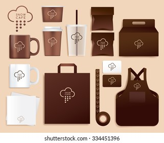 Corporate Identity Template Design For Coffee Shop : Vector Illustration