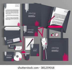 Corporate identity template design with a gray and pink color. Business set stationery.