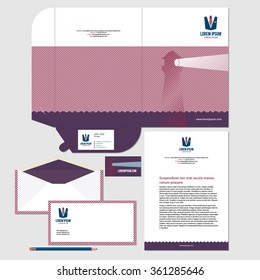 Corporate identity template design with lighthouse illustration