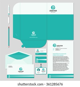 Corporate identity template design with minimal lighthouse illustration