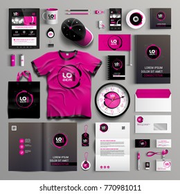 Corporate identity template design with modern black and pink structure. Business stationery