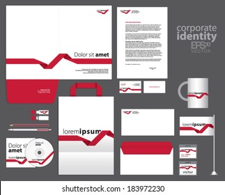Corporate identity template design with red lines. Simple vector company style letter business card envelope brochure and paper bag.