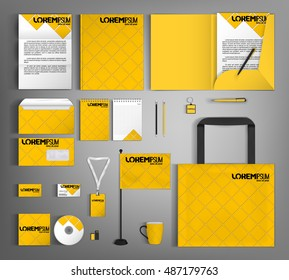 Corporate identity template design with a yellow rhombus. Business stationery set.