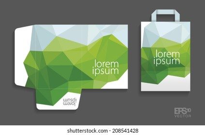 Corporate identity template. Folder and paper bag. Fresh green abstract vector design.