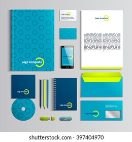 Corporate identity template in green and blue colors with pattern of circle. Vector company style for brandbook and guideline. Stylish and clear branding. EPS 10