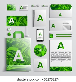 Corporate identity template in green colors with paint background. Vector company style for brandbook and guideline. EPS 10