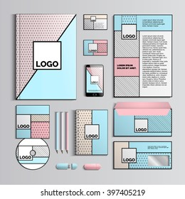 Corporate identity template intrendy colors with geometric patterns. Vector company style for brandbook and guideline. Pop art style. Creative Business stationery. Vector Illustration. EPS 10