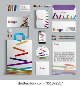 Corporate identity template with pattern of stripes. Colorful design. Vector company style for brandbook and guideline. EPS 10