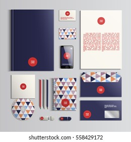 Corporate identity template in red, dark blue and beige colors with triangular pattern. Vector company style for brandbook and guideline. EPS 10