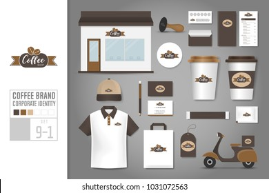Corporate identity template Set 9-1. Logo concept for coffee shop, cafe, restaurant. Realistic mock up template set of store, polo shirt, cap, cup, menu, name card, scooter, coupon, package.