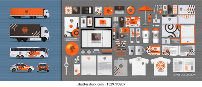 Corporate identity template set. Branding design. blank template. Business stationery mock-up with logo. large collection. Realistic MockUp. Vector concept.