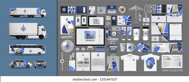 Corporate identity template set. Branding design. blank template. Business stationery mock-up with logo. large collection.  Style for a construction company. Modern clean branding.