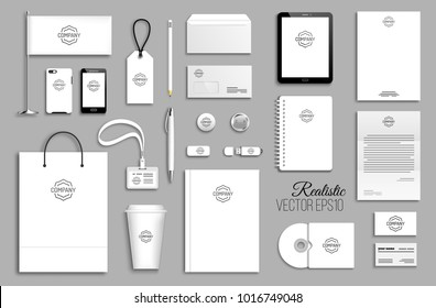 Corporate identity template set. Business stationery mock-up with logo. Branding design. Empty white background.