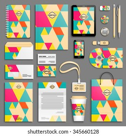 Corporate identity template set. Business stationery mock-up with logo. Branding design. Colorful geometric background.