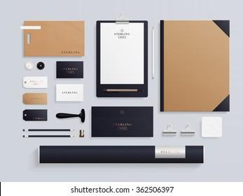 Corporate identity template set. Business stationery mock-up with logo template. Set of envelope, notebook, card, folder, paper bag, etc. Vector illustration.