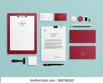 Corporate identity template set. Business stationery mock-up with logo template. Set of envelope, card, folder, etc. Vector illustration.